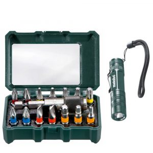 Set bitova Metabo Bit Box + mini lampa