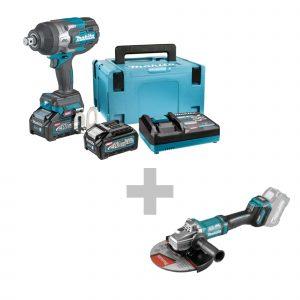 Akumulatorski udarni odvijač Makita TW001GM201 + Akumulatorska kutna brusilica Makita GA038GZ